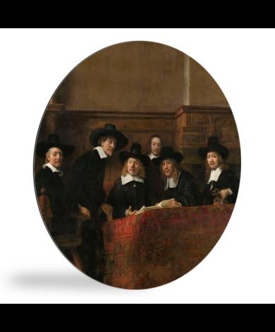 De staalmeesters - Schilderij van Rembrandt van Rijn wandcirkel
