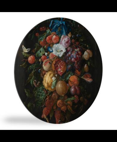 Festoen van vruchten en bloemen - Schilderij van Jan Davidsz de Heem wandcirkel