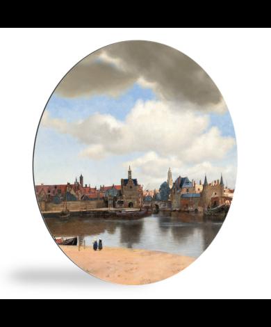 Gezicht op Delft - Schilderij van Johannes Vermeer wandcirkel