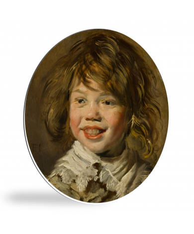 Lachende jongen - Schilderij van Frans Hals wandcirkel