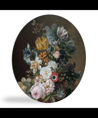 Stilleven met bloemen - Schilderij van Eelke Jelles Eelkema wandcirkel
