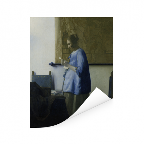 Brieflezende vrouw in het blauw - Schilderij van Johannes Vermeer Poster