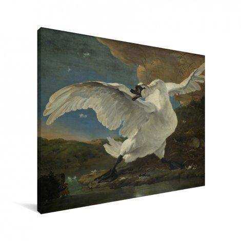 De bedreigde zwaan - Schilderij van Jan Asselijn Canvas