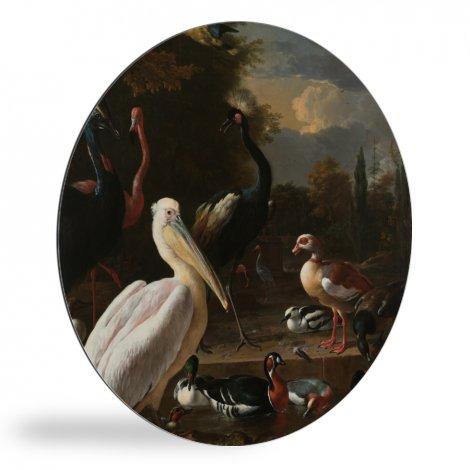 Een pelikaan en ander gevogelte bij een waterbassin - Schilderij van Melchior d'Hondecoeter wandcirkel