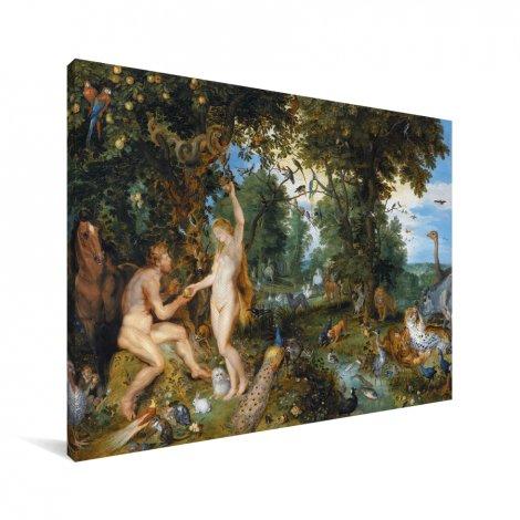 Het aardse paradijs met de zondeval van Adam en Eva - Schilderij van Peter Paul Rubens Canvas