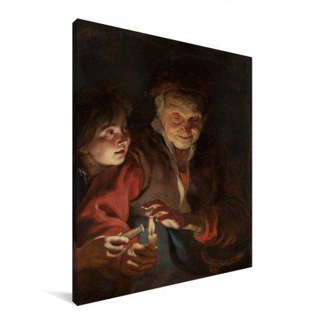 Oude vrouw en jongen met kaarsen - Schilderij van Peter Paul Rubens Canvas