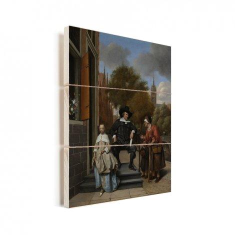 Portret van Adolf en Catharina Croeser aan de Oude Delft - Schilderij van Jan Steen Vurenhout met planken