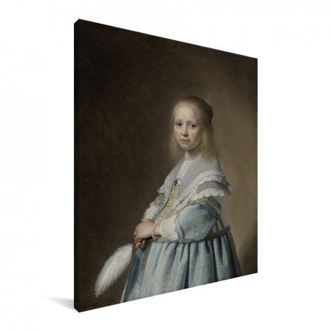 Portret van een meisje in het blauw - Schilderij van Johannes Cornelisz Verspronck Canvas