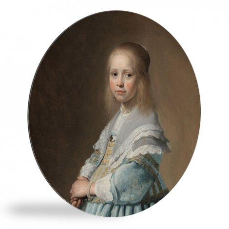 Portret van een meisje in het blauw - Schilderij van Johannes Cornelisz Verspronck wandcirkel