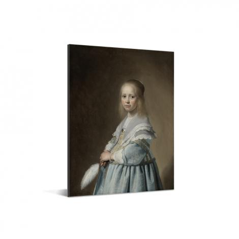 Portret van een meisje in het blauw - Schilderij van Johannes Cornelisz Verspronck Aluminium
