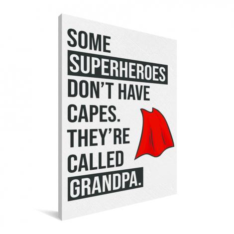 Vaderdag - Cadeau voor opa met tekst - Superheroes Canvas