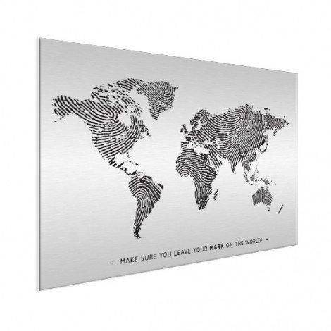 Vingerafdruk - zwart wit met tekst aluminium