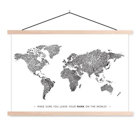 Vingerafdruk zwart-wit met tekst textielposter