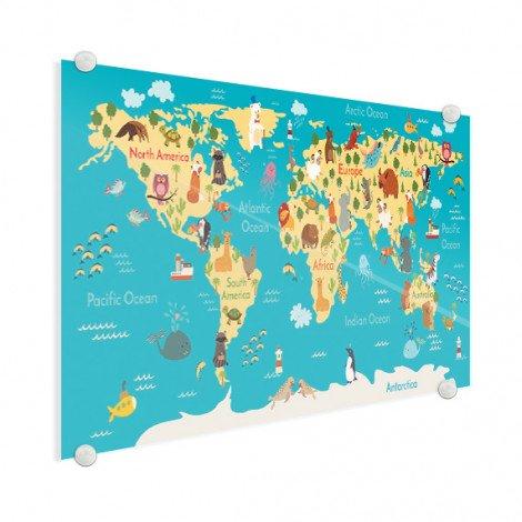 Continenten en zeeën plexiglas