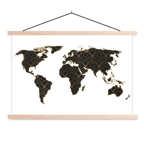 Geometrisch zwart-goud textielposter