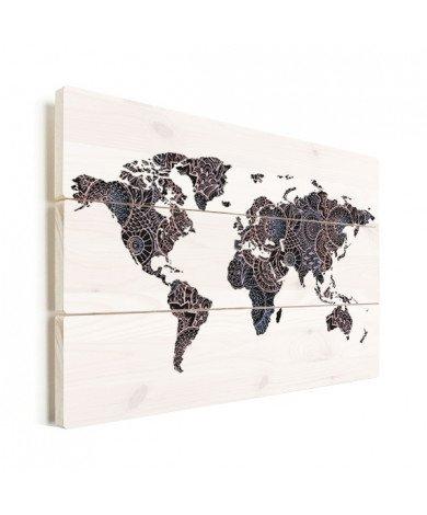 Aziatische print zwart-roze hout