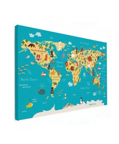 Continenten en zeeën canvas