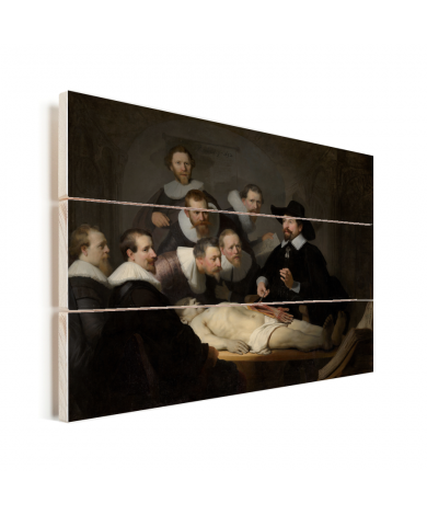 De anatomische les van Dr Nicolaes Tulp - Schilderij van Rembrandt van Rijn Vurenhout met planken