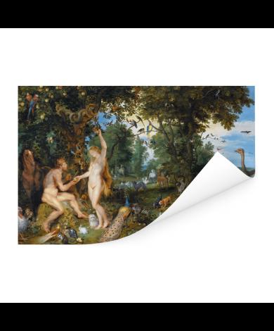Het aardse paradijs met de zondeval van Adam en Eva - Schilderij van Peter Paul Rubens Poster