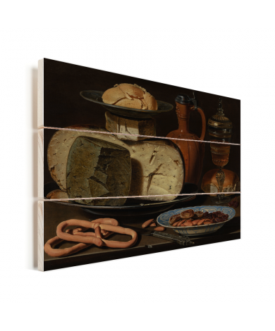Stilleven met kazen amandelen en krakelingen - Schilderij van Clara Peeters Vurenhout met planken