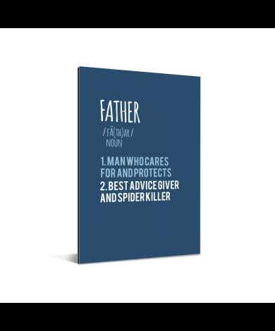 Vaderdag - blauwe print met tekst - Father Aluminium
