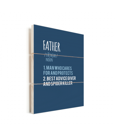 Vaderdag - blauwe print met tekst - Father Vurenhout