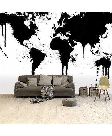 Zwarte inkt behang