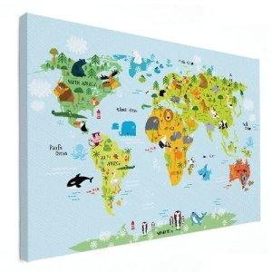kinderwereldkaart op canvas als wanddecoratie