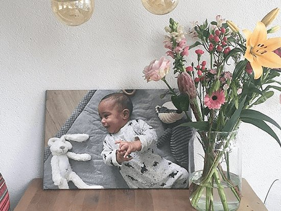Babyfoto op canvas