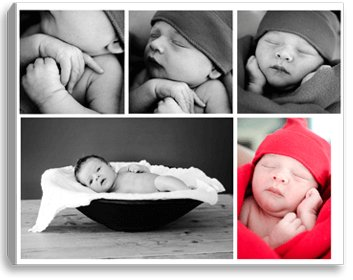 Fotocollage op canvas baby