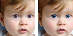 Rode ogen verwijderen foto op canvas