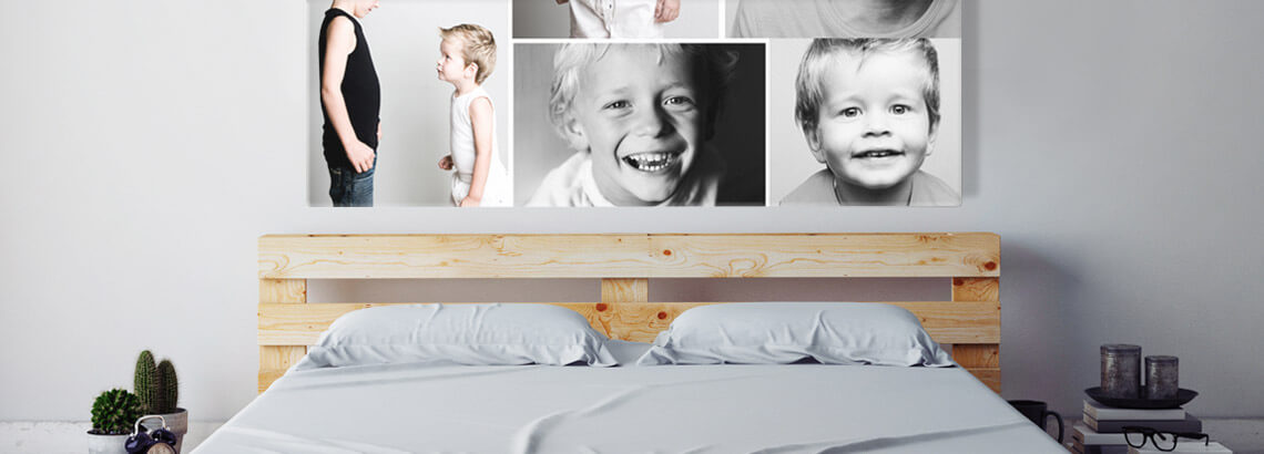 Fotocollage op canvas broers in interieur