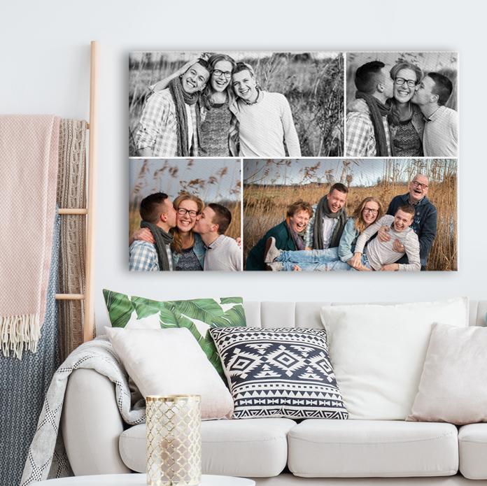 Fotocollage op canvas met meerdere herinneringen op linnen