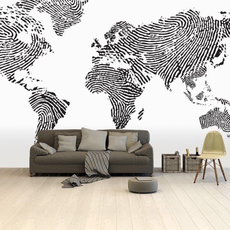 Wereldkaart op fotobehang