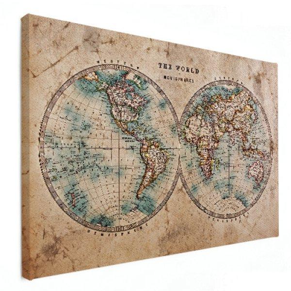 wereldkaart op doek