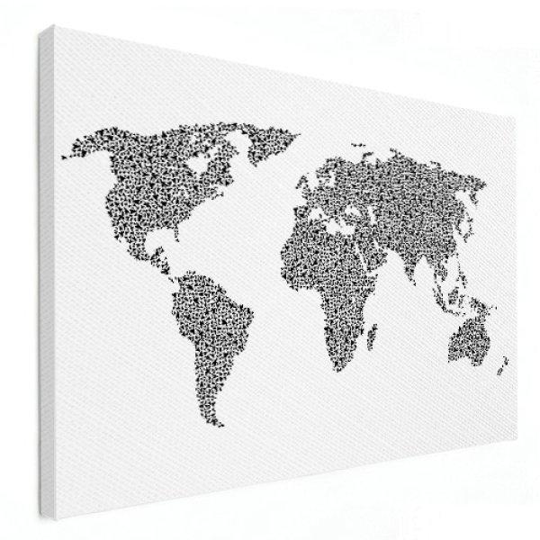 wereldkaart op linnen